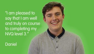 Picture of care worker, Daniel Young, with a green background and quote to the left of him.