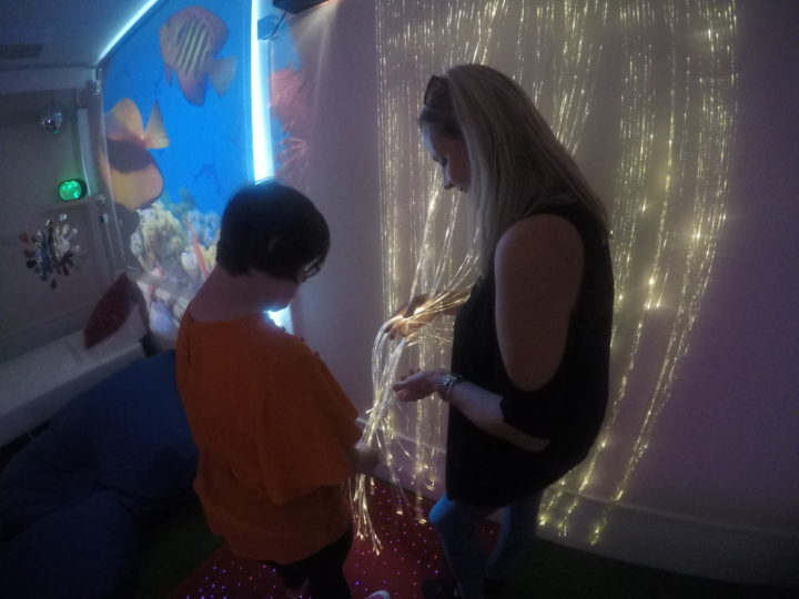 Customer within the new sensory room.