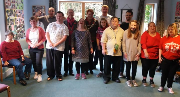 Group of adults with learning disabilities and Mayor of Maldon, Janet Stilts, celebrating 25 years of ECL Maldon.