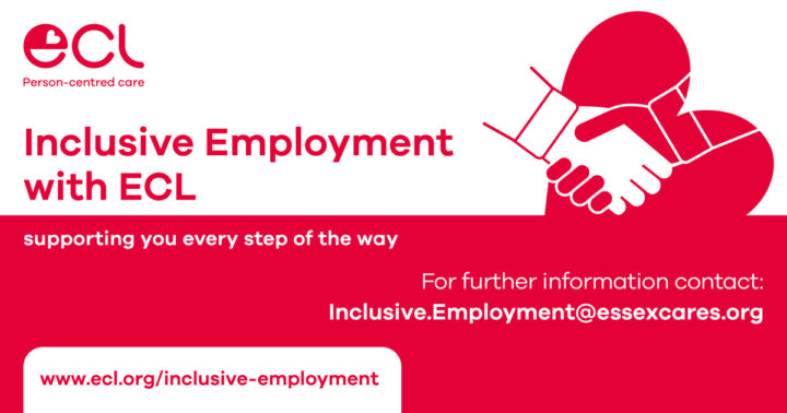 Graphic containing a red heart, some text and an icon of hands shaking to help promote ECL's Inclusive Employment Scheme.