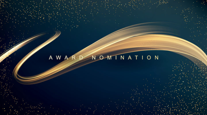 Gold swirl with a black background displaying the words 'award nomination' in capital letters.
